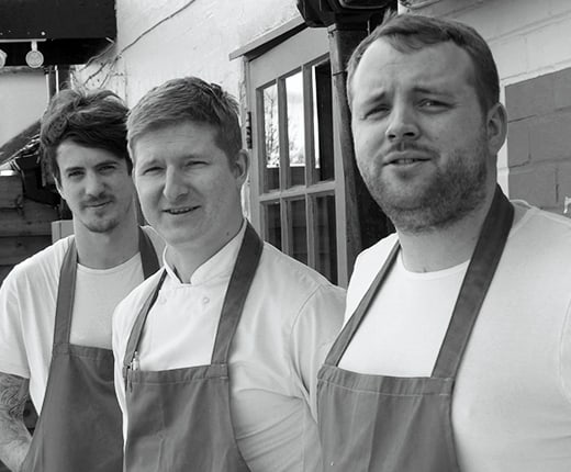 Proprietor and Head Chef Will Devlin outside the restaurant in Kilndown with his two chefs