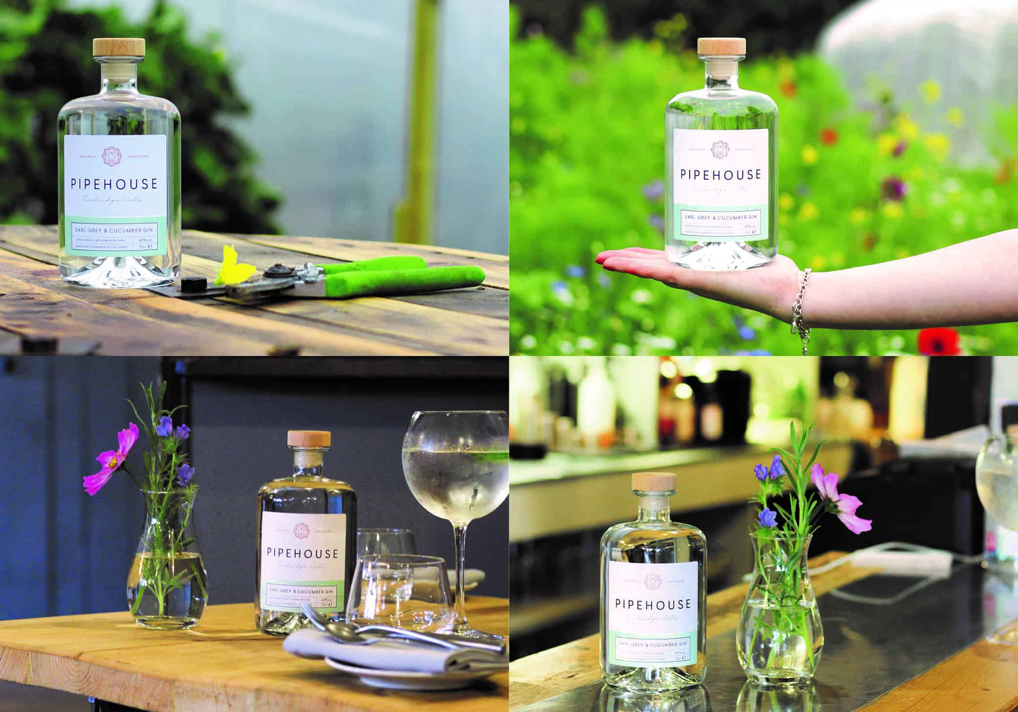 Different shots of the Pipehouse Kent gin bottle at The Small Holding