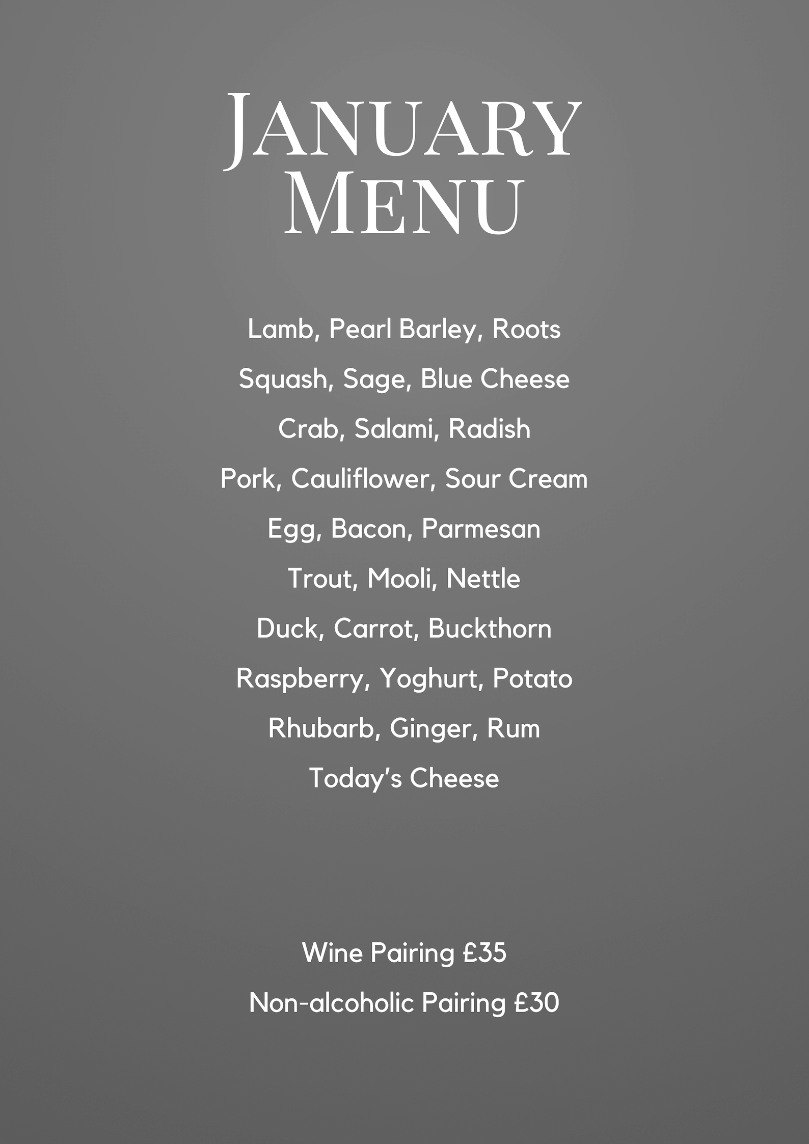 Christmas Menu at The Small Holding