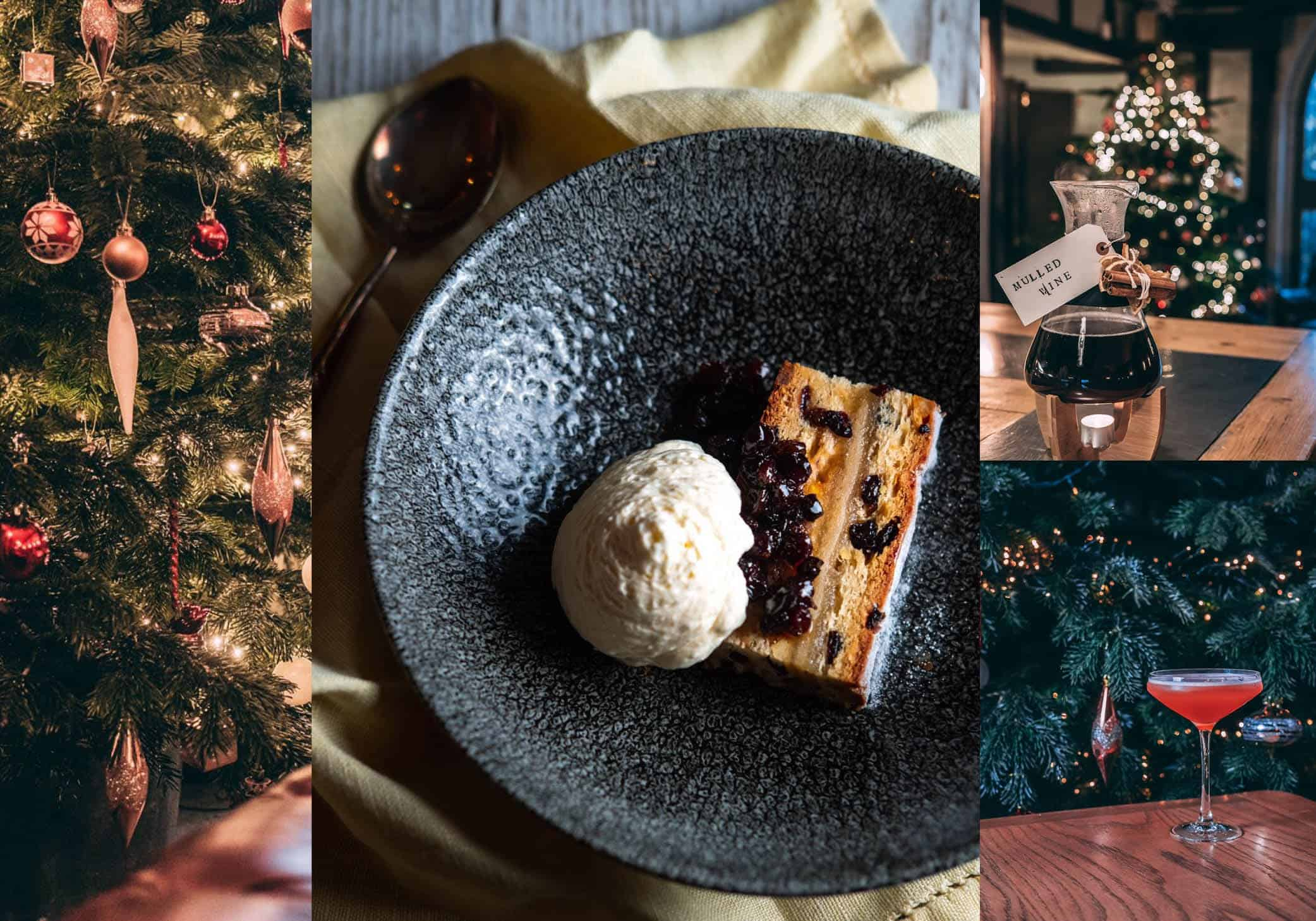 Desserts, cocktails and mulled wine with Christmas decorations at The Small Holding