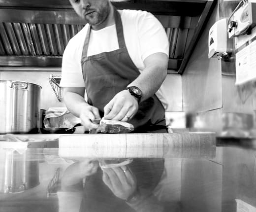 Kitchen at The Small Holding - Proprietor and Head Chef Will Devlin outside the restaurant in Kilndown with his two chefs