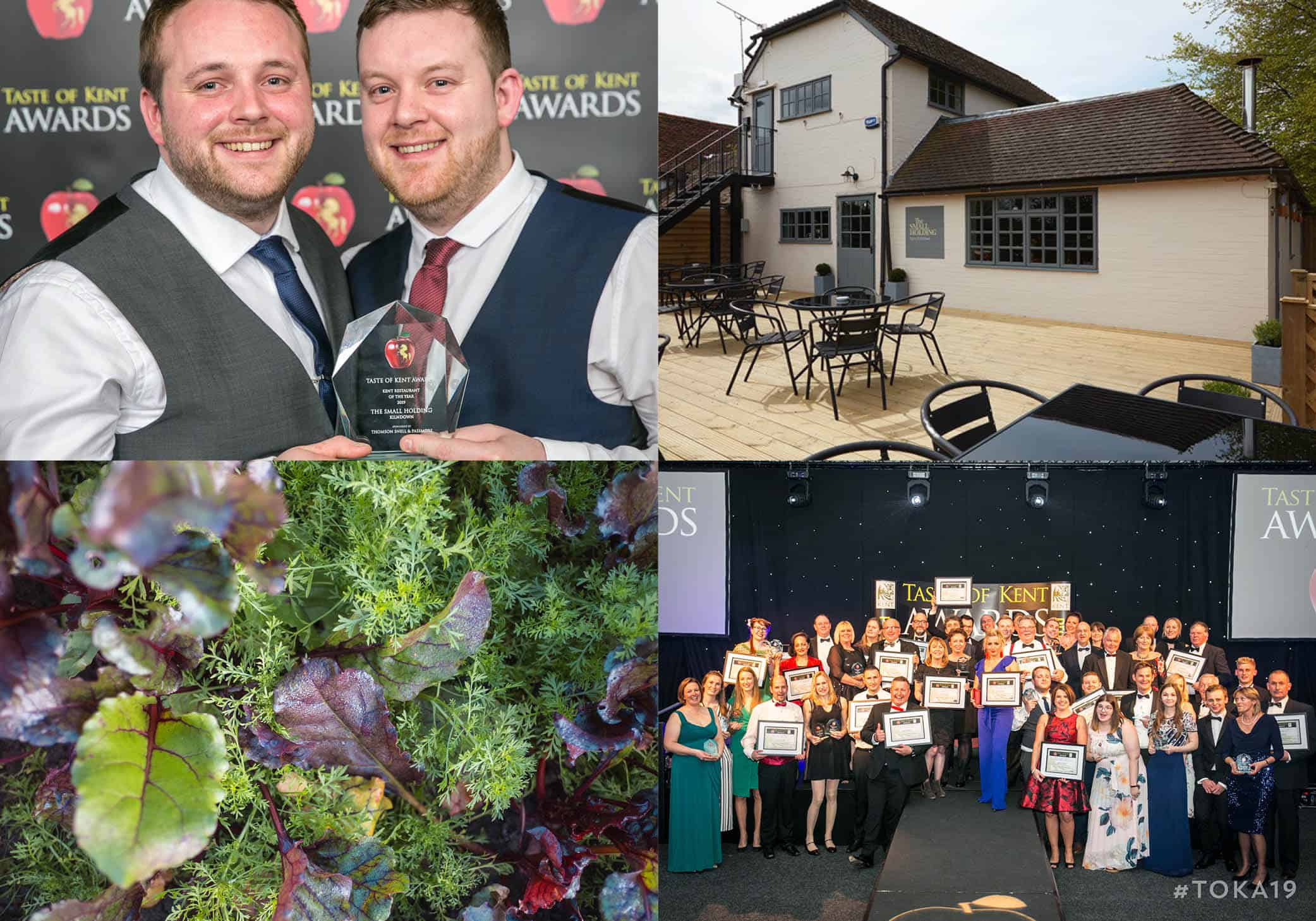 Will Devlin and Matt Devlin at the Taste of Kent Awards 2019; The Small Holding in Kilndown; produce on the Small Holding farm; winners of the Taste of Kent Awards 2019